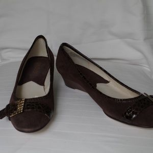 Michael Kors Coffee Suede Demi Wedge NIB- Size 6.5